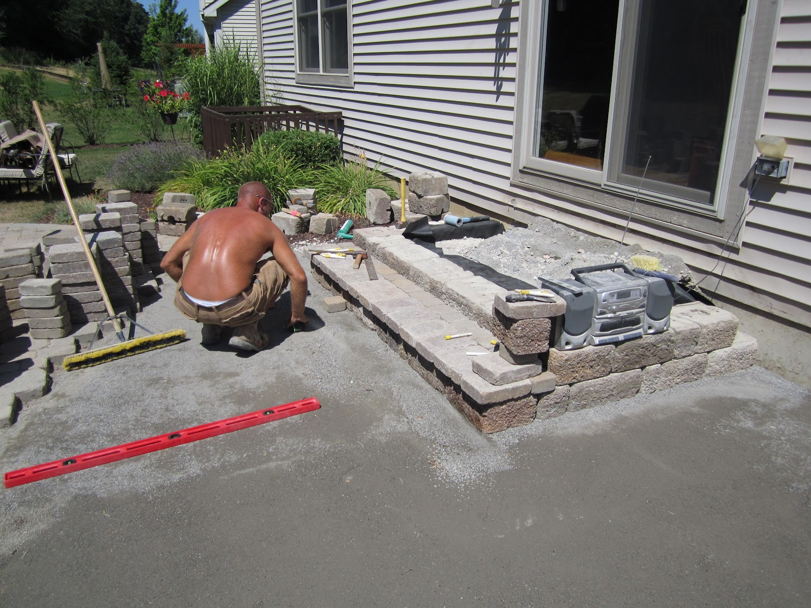 Awesome The Pavers Patio Redesign Required Us To Reconstruct The Paver Steps Coming  Out The Doorwall. We Wanted To Make Sure They Had A Safe 3ft Out Landing  Step ...