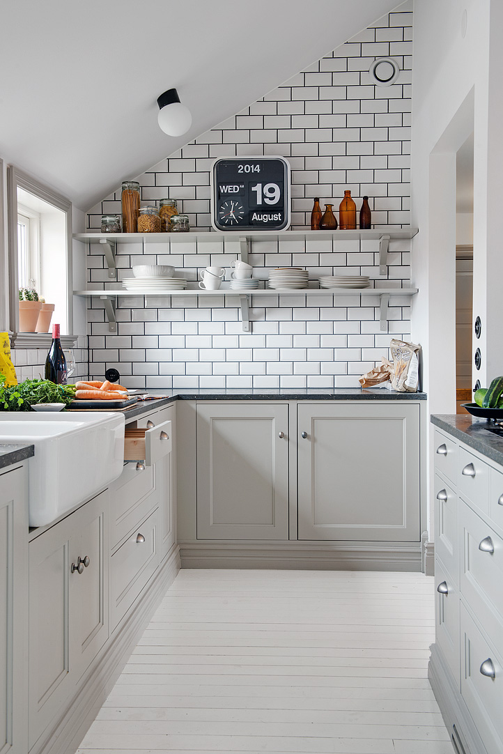 muebles de cocina en color gris claro