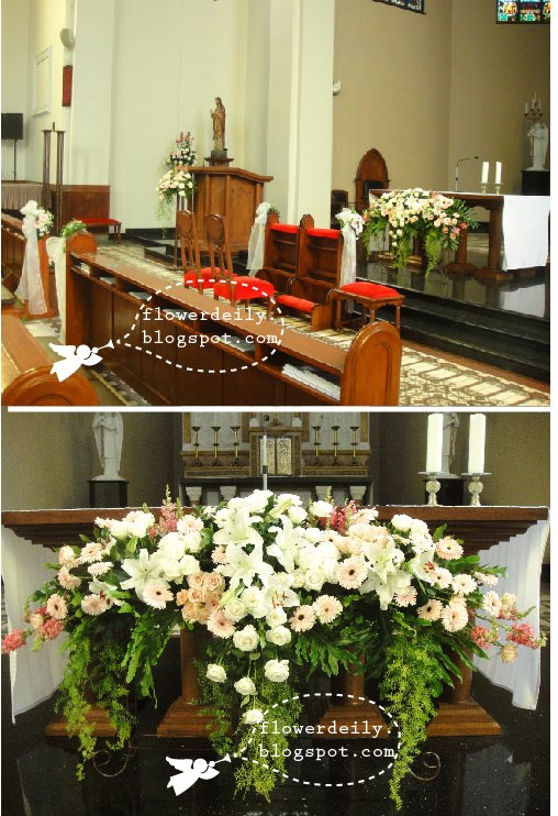 Here's the flower arrangement in front of the altar.