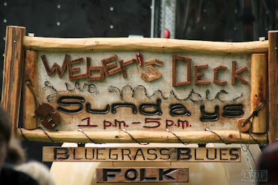 wooden sign at Weber's Deck