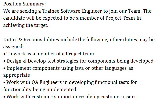job category trainee software engineer - Responsibilities Of A Software Engineer