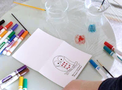 make your own watercolors with small paintbrush, water and washable markers