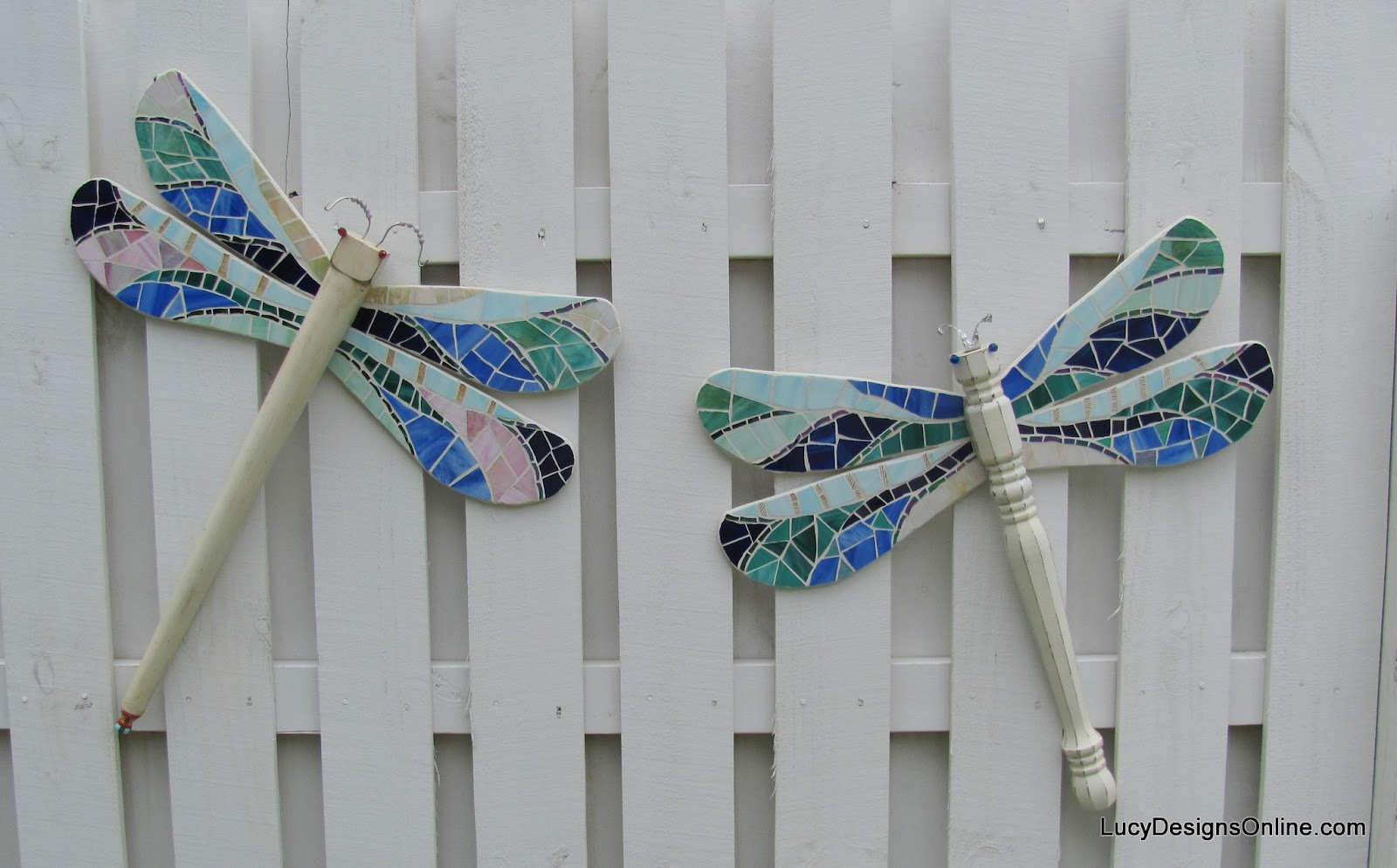 table leg dragonfly with stained glass mosaic wings
