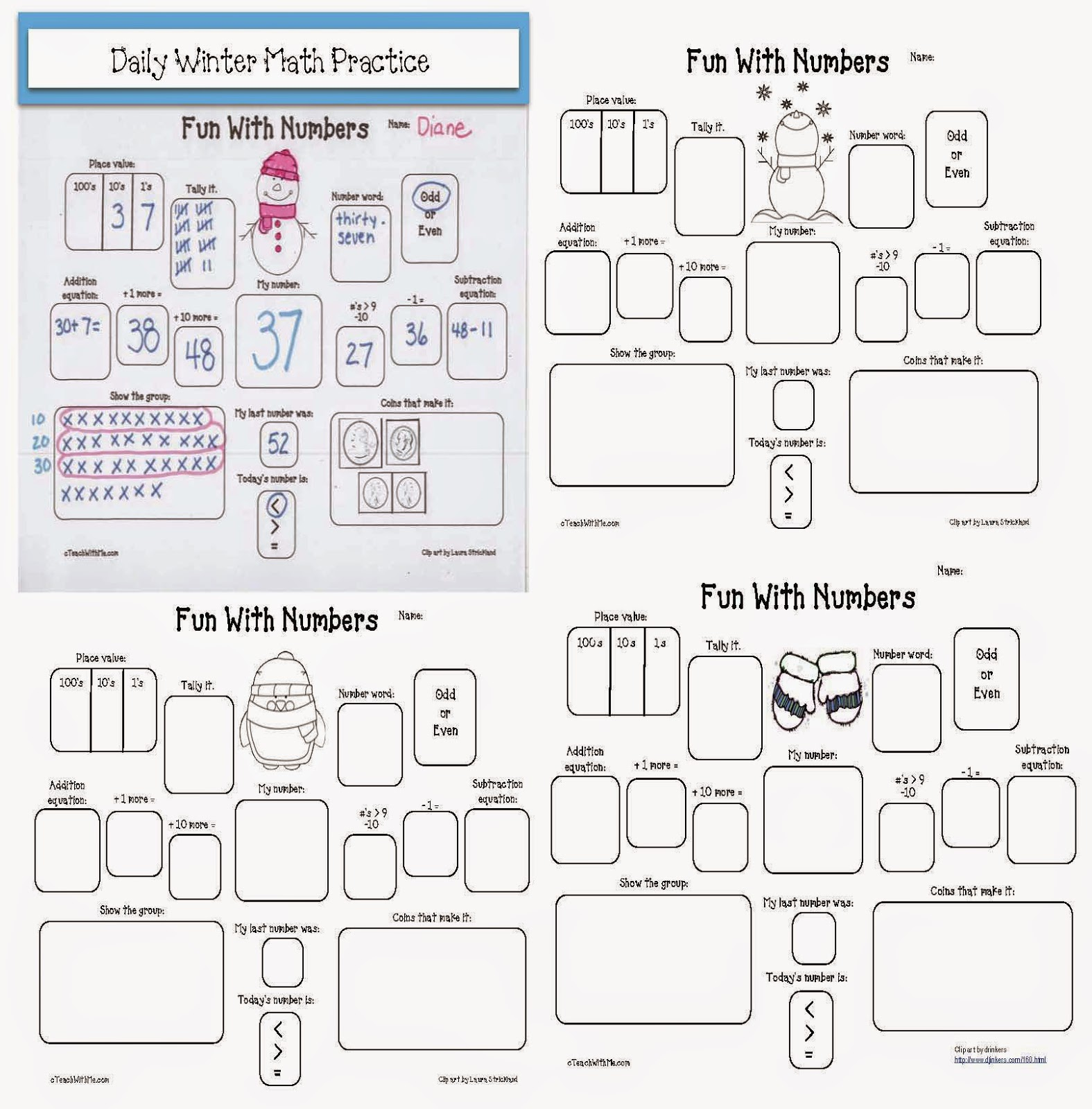 math worksheet : classroom freebies january fun with numbers : Morning Math Worksheets