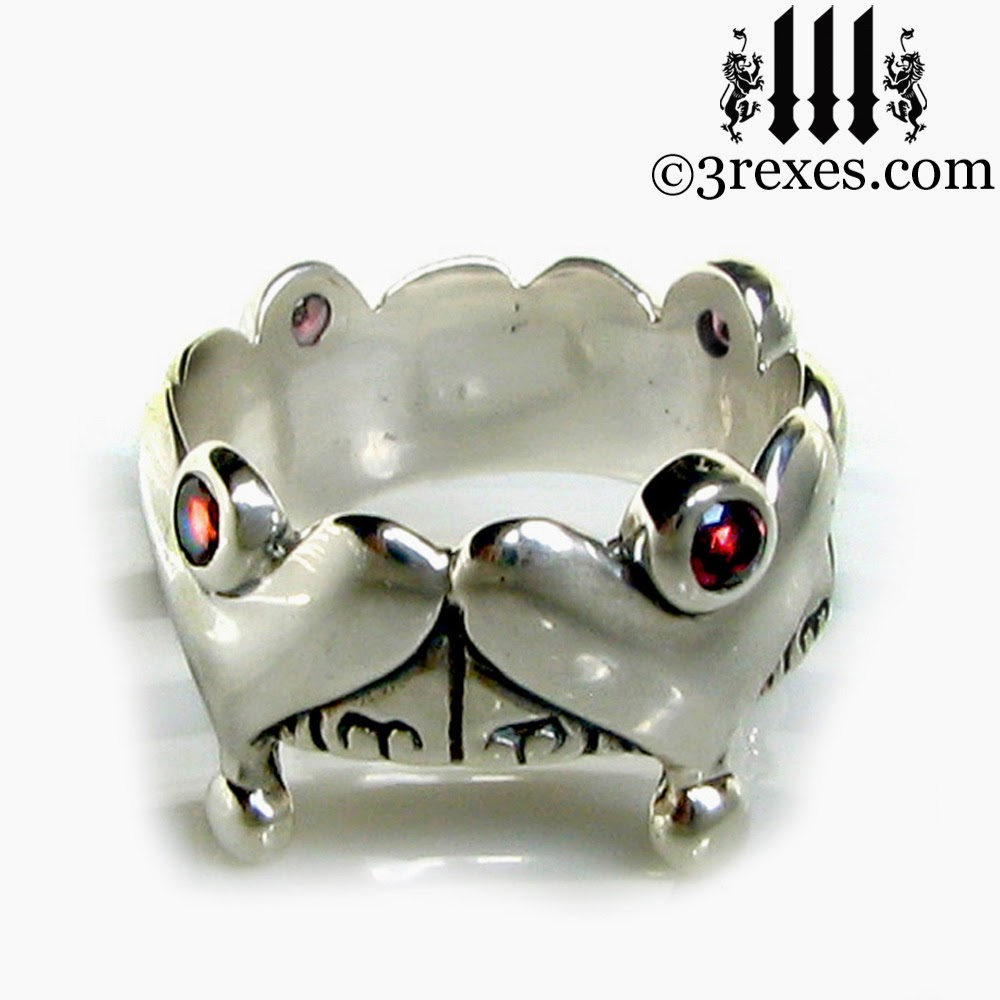silver gothic heart crown ring with garnets