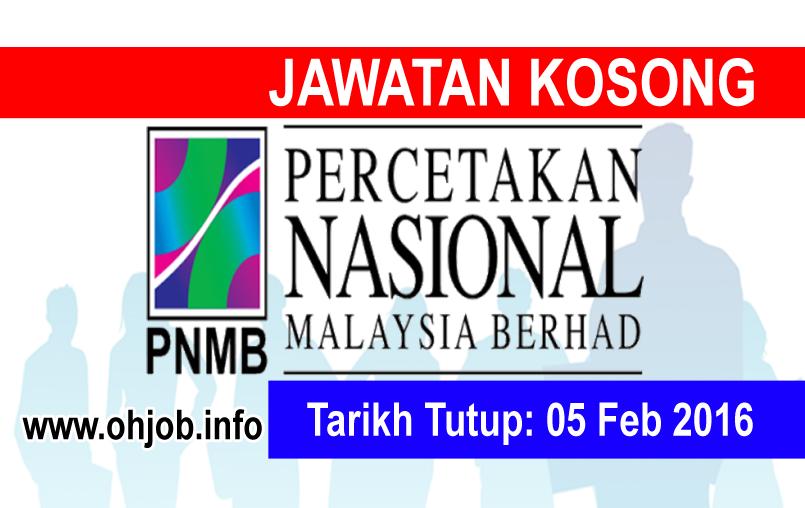 Jawatan Kerja Kosong Percetakan Nasional Malaysia Berhad (PNMB) logo www.ohjob.info februari 2016