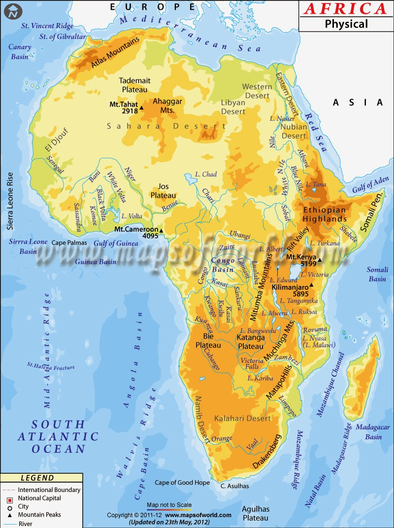 Africa Physical Map 2014 Golfo de Guinea