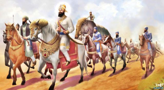 Guru Gobind Singh ji with khalsa Fauz
