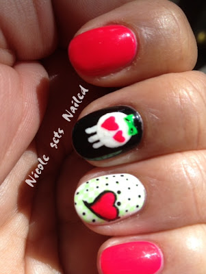 Neon Pink Green Black White Hearts Skull