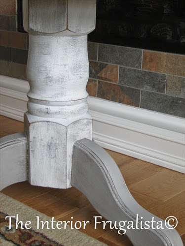 Pedestal table painted with Paris Grey and Pure White chalk paint