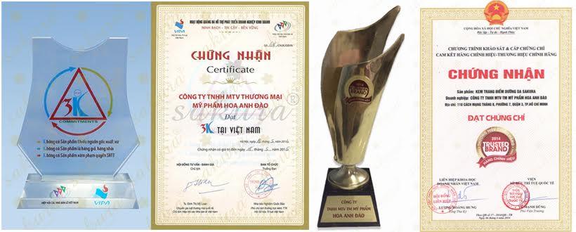 Công ty Mỹ phẩm Hoa Anh Đào đã đạt được nhiều giải thưởng lớn