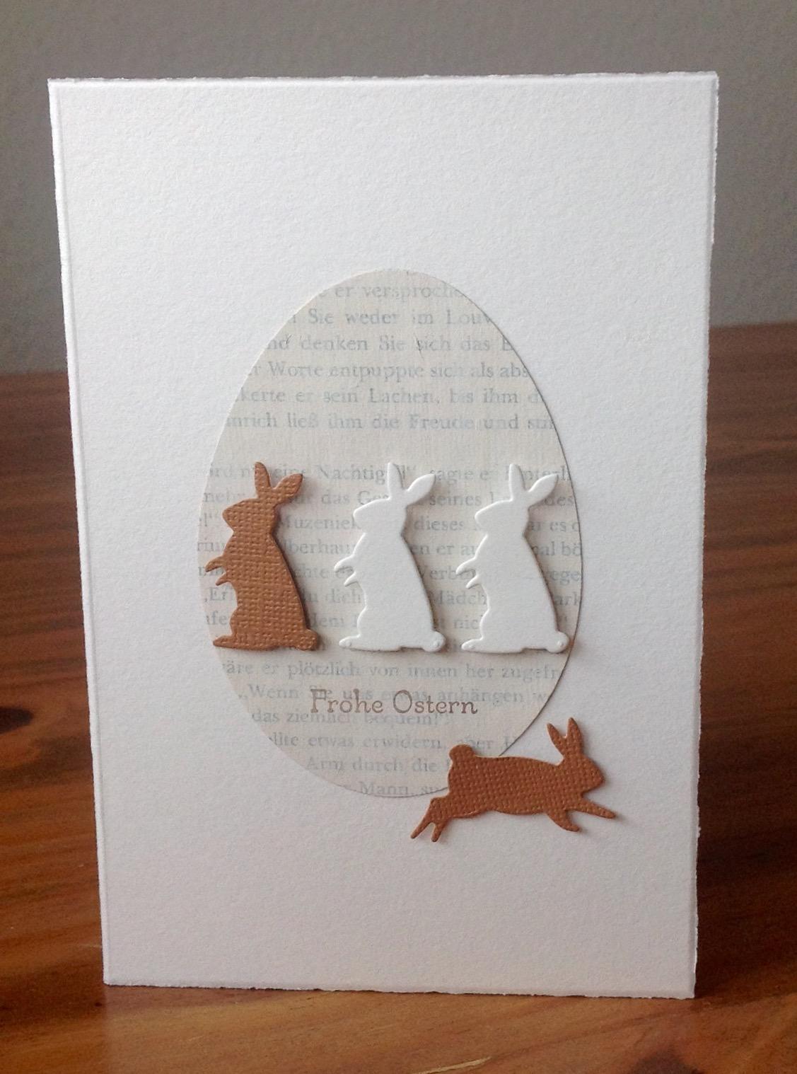 """Osterkarten mit Stanze Eier von Sizzix, Schriftstempel """"Frohe Ostern"""" von SU"""