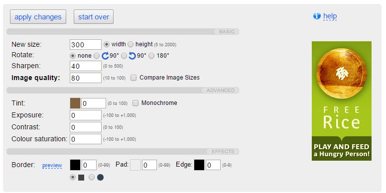 Resize và xoay ảnh trược tuyến với webresizer