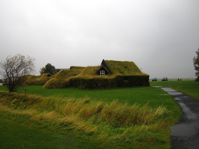 Sod house in Skogar, Iceland.