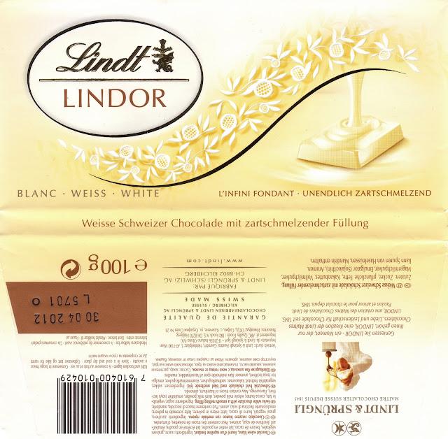 tablette de chocolat blanc fourré lindt lindor blanc