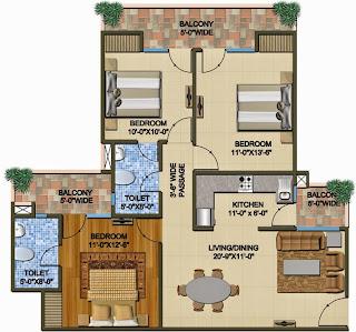 The Romano :: Floor Plans,Type B:-Super Area - 1425 Sq. Ft.