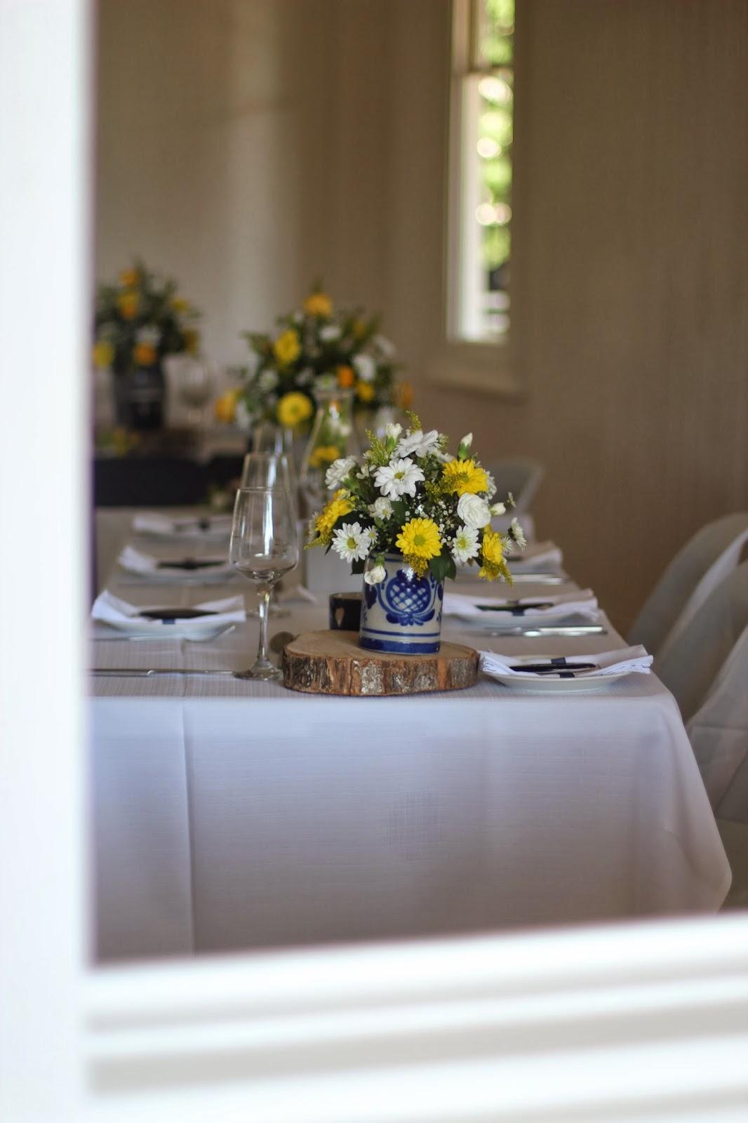 wedding reception: blue, navy, yellow, white