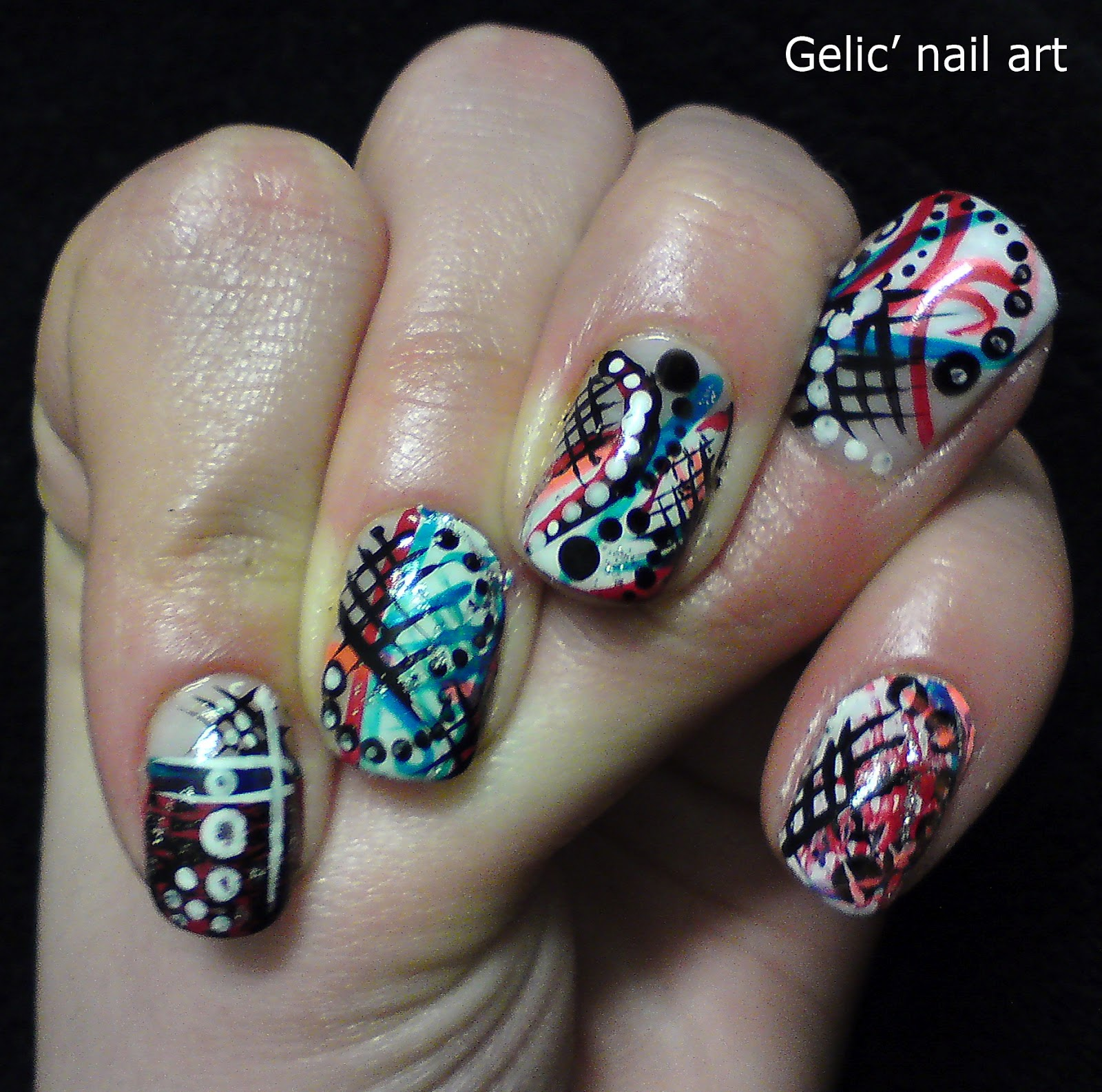 Gelic\' nail art: Dots and stripes mix nail art in white, red, black ...
