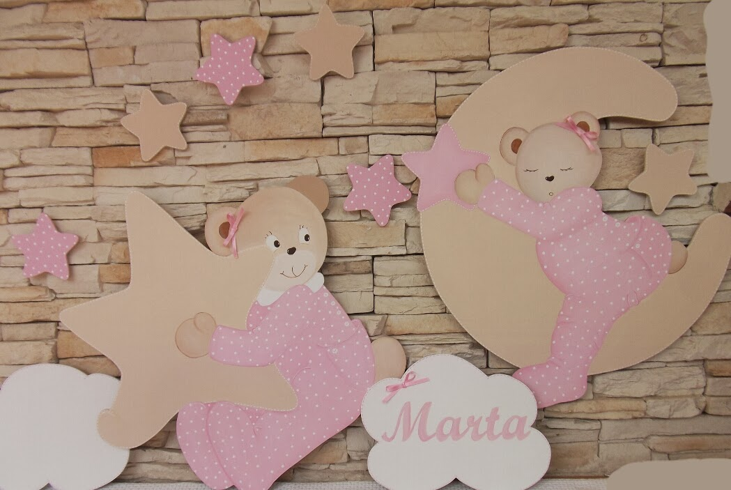 Decoraci n infantil pekerines siluetas de ositas para habitaciones de ni as - Decoracion infantil nina ...