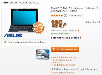 Super-Sonntag: ASUS Eee PC R11CX-BLK002U für 189 Euro bei Saturn