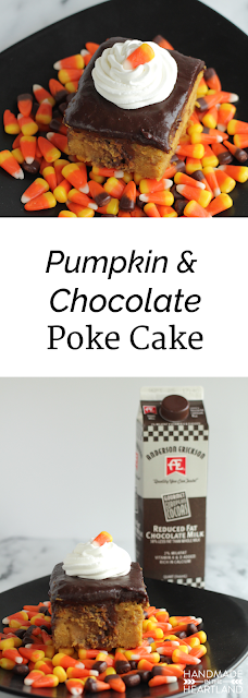 Pumpkin & Chocolate Poke Cake with #AEDairy