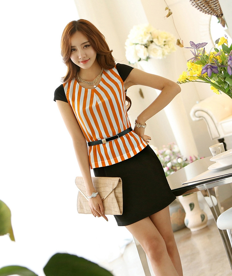 Busana: Dress Lycra Strep Orange (BTA-156)
