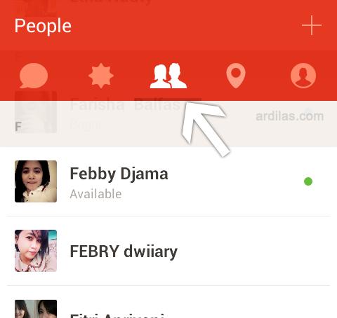 Daftar teman - Cara Bermain dan Menggunakan Aplikasi Path Talk - Android