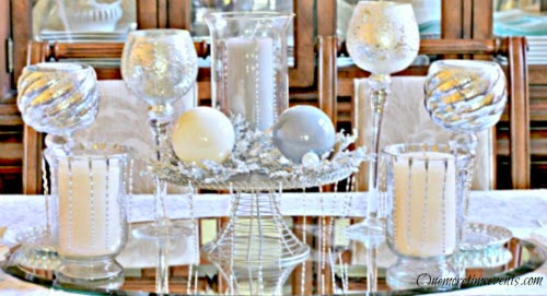 Using Christmas Ornaments to Create a Christmas Table Centerpeice at One More Time Events.com