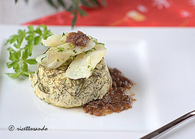 Baccalà su cheesecake di ricotta al finocchietto ricetta antipasti
