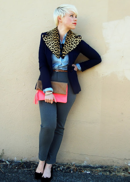blonde pixie cut, fall color trends, fall fashion, leopard print, style, look of the day