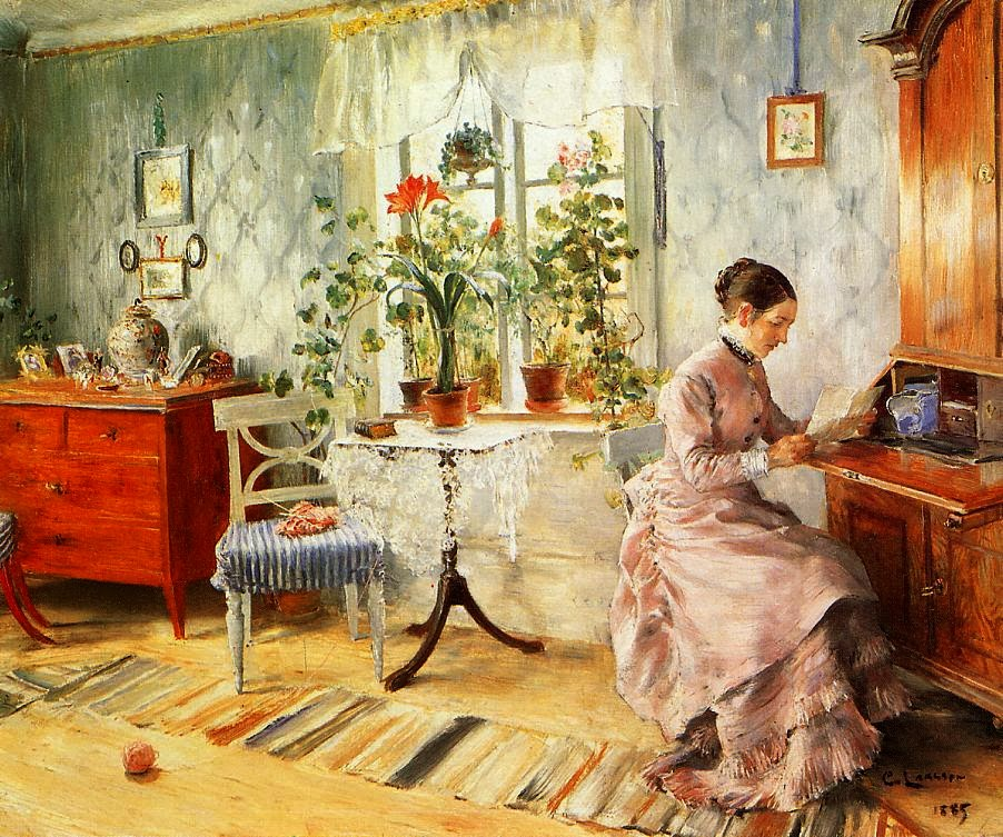 Carl Larsson - An Interior with a Woman Reading