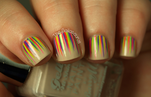 neon waterfall nail art - nailasaurus