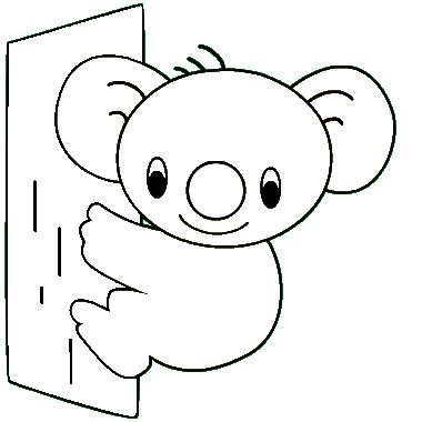 Cute printable animal koalas coloring books for kids for Koala coloring page
