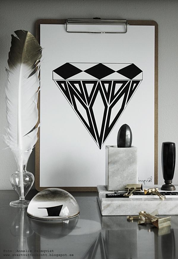 arbetsrum, kontor, hemmakontor, arbetsrummet, bänkskiva, ikea möbler, poster diamant, diamanter, svartvit tavla med diamant, svartvita tavlor, posters, prints, annelies design & Interior, annelies design, konsttryck, grafiskt, grafiska, fjäder, vit fjäder med guld på toppen, clipboard, clipboards, webbutik, webbutiker, webshop, nettbutikk, nettbutikker, office, home office, brevpress,guld klämmor, guldclips, clips,  marmor pennställ, visitkort, rostfritt, plakater, plakat, affisch,