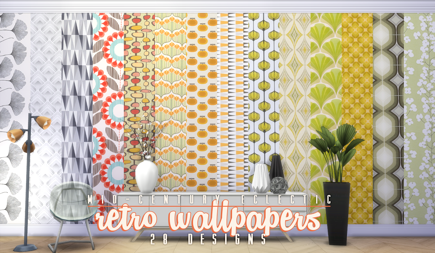 My sims 4 blog updated mid century eclectic object set by for Updated wallpaper designs