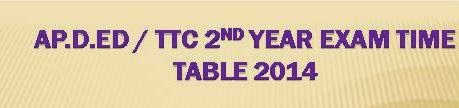 AP D.Ed / TTC 2nd Year Exam Time Table 2014 @ www.bseap.org