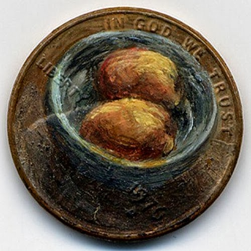 09-The-Still-Life-1976-Artist-Jacqueline-L-Skaggs-Discarded-Pennies-Oil-Painting-on-Coins-www-designstack-co