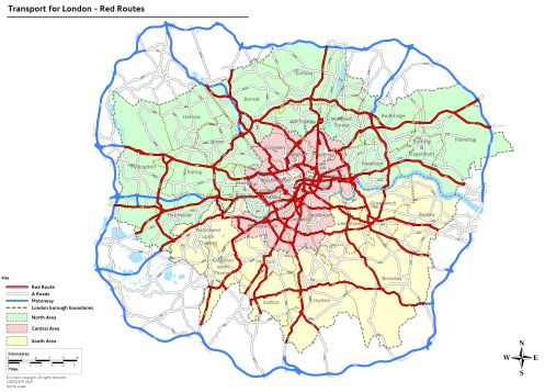 Mapa del area metropolitana de Londres. Ciertas vías, en forma radial y circular, están marcadas en rojo
