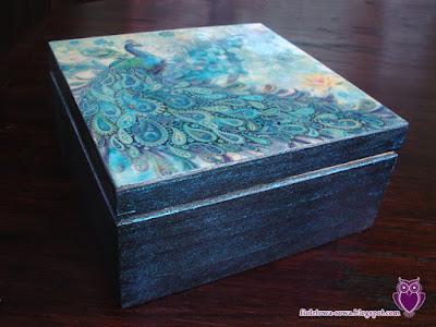 Decoupage tea box with peacock