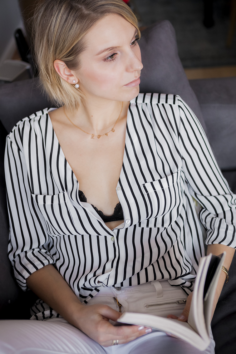 Vertical striped button down blouse shirt, H&M, gold love chain necklace, ASOS double pearl earrings, black lace bralette