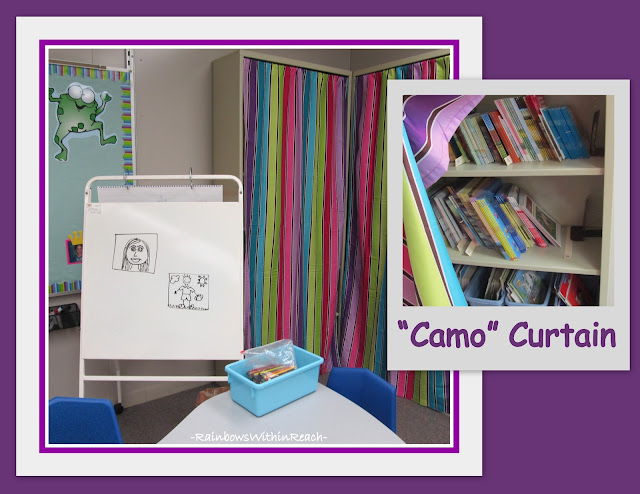 Fabric Curtain in Classroom to Help Organize Space (Classroom Organization RoundUP via RainbowsWIthinReach)