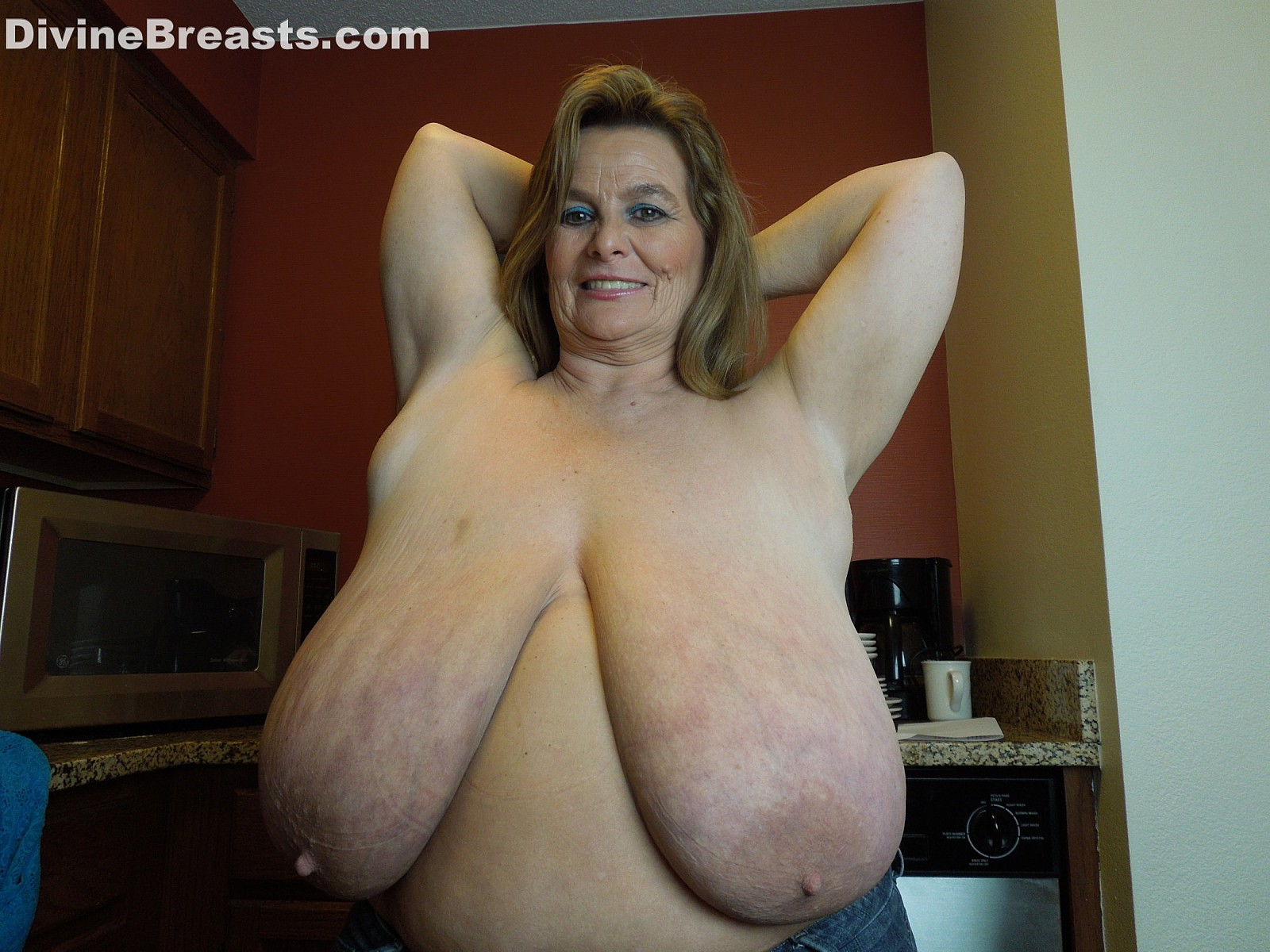 Granny long boobs