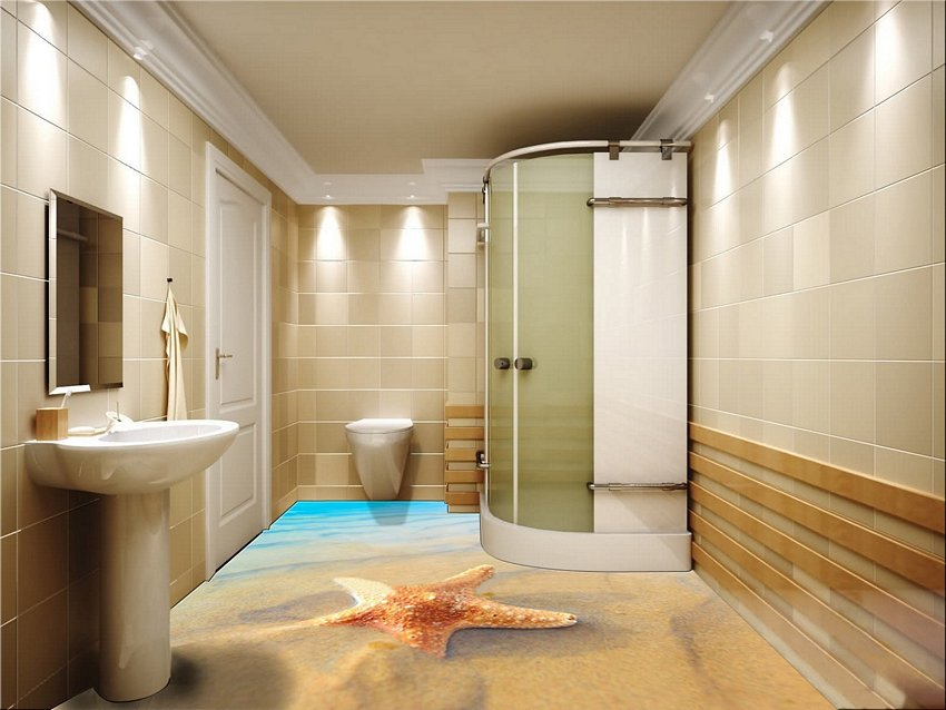 3D Floor Style On Bathroom 5
