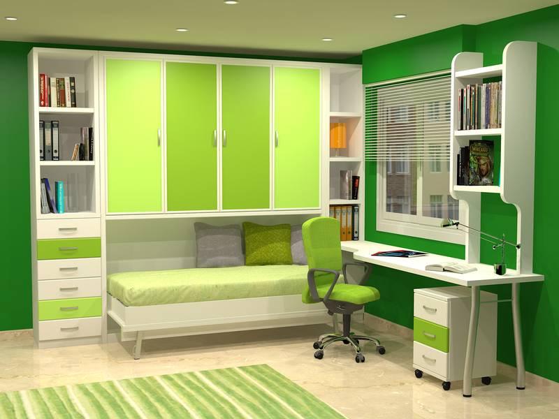 Cama abatible horizontal con armario encima - Habitaciones juveniles camas abatibles horizontales ...