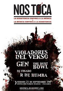 Festival Nos Toca zaragoza Violadores del Verso, Gen y The Dust Bowl