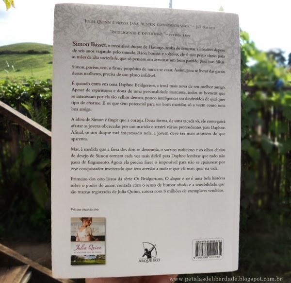 Contracapa, livro, O Duque e Eu, Julia Quinn, romance, editora Arqueiro, resenha, trechos, sinopse