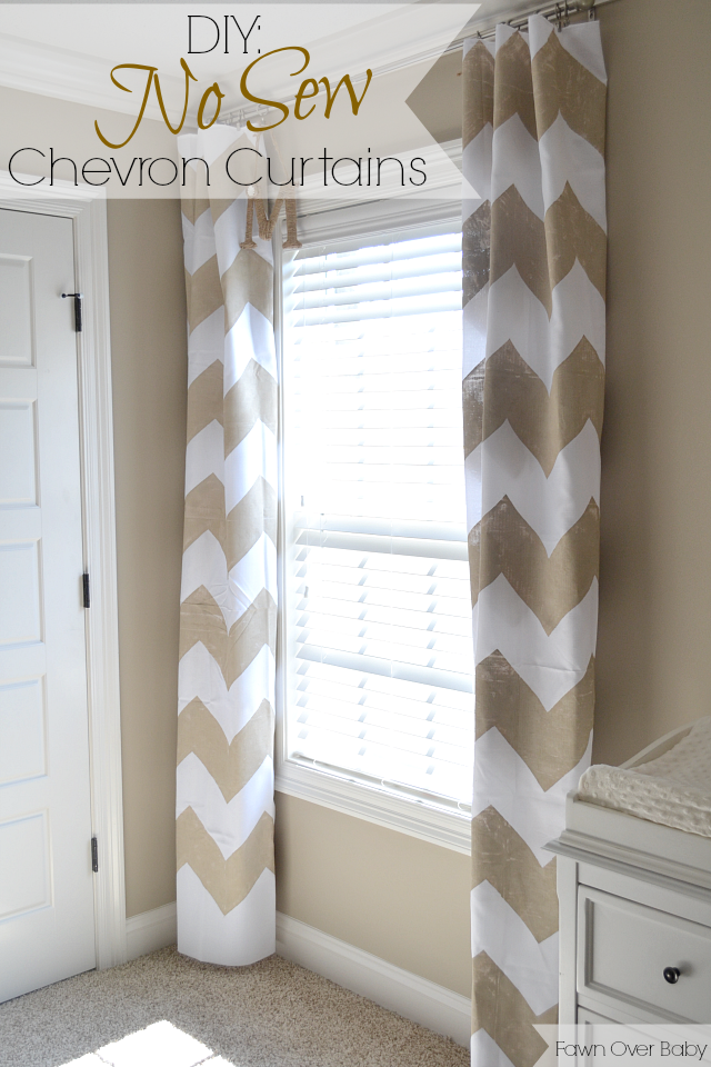 Fawn Over Baby: DIY: No-Sew Chevron Curtains