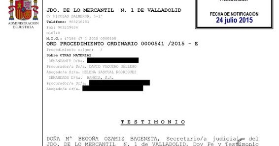Entre c digos y leyes nueva sentencia de nulidad de for Bankia oficinas valladolid