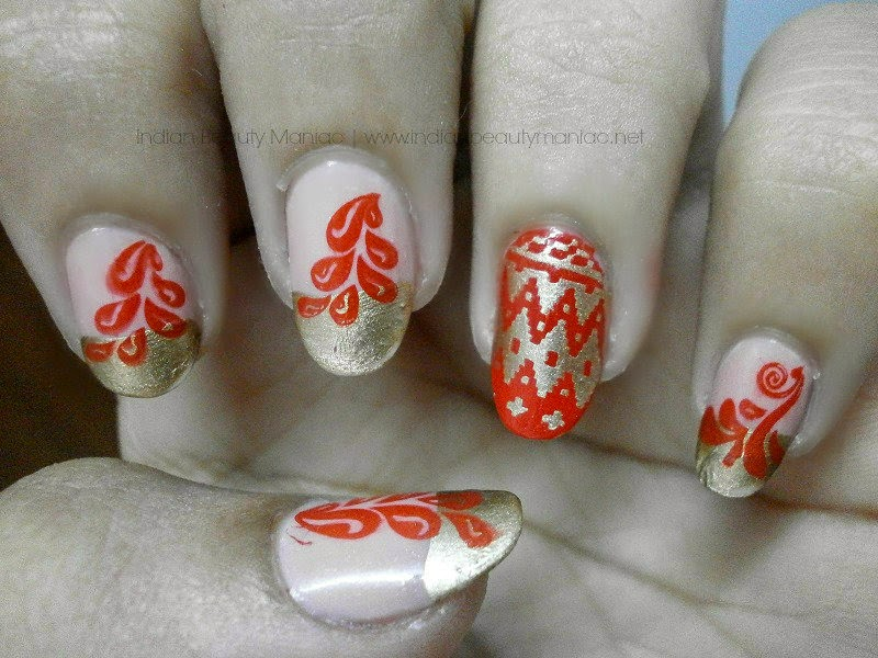 Stamping Nail Art in Pink, Red and Gold