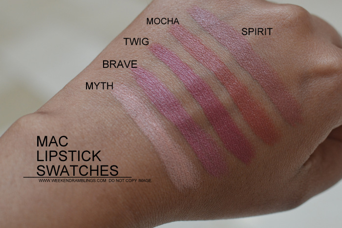 MAC Lipsticks Swatches Indian Darker Skin NC45 Makeup Beauty Blog Myth Brave Twig Mocha Spirit